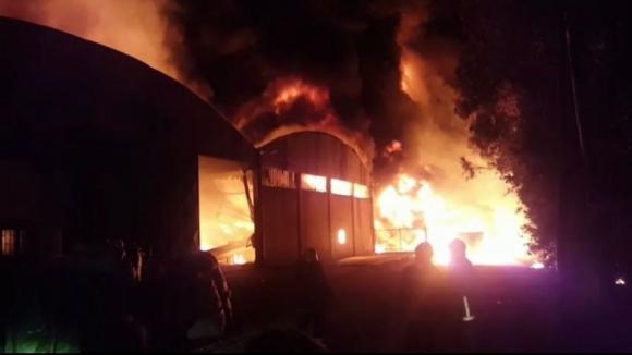 Incêndio está a destruir fábrica de papel J Nunes & Filhos em São Paio de Oleiros