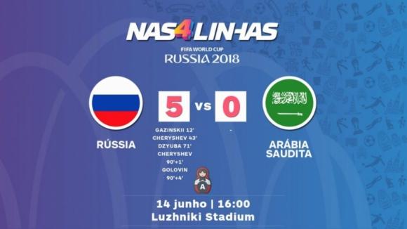 Anfitriã Rússia goleia Arábia Saudita no jogo inaugural do Mundial2018